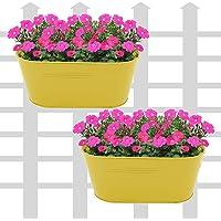 "Klaxon Railing Planters - 12"" Oval Balcony Railing Planter, Railing Flower Garden Pots and Wall Planters for Balcony- Yellow Metal Planter Holder -2PCS"