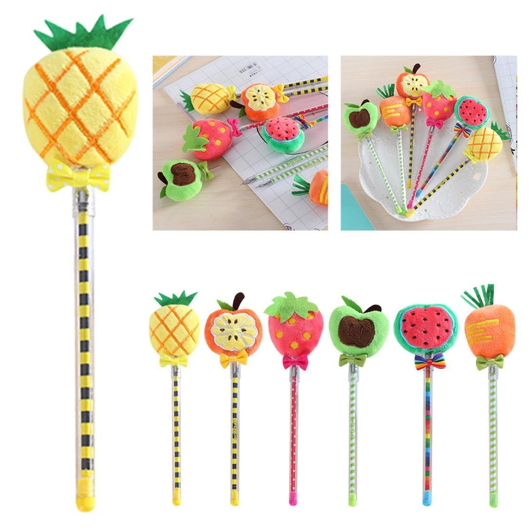 Inverlee Back to School Supplies, Cute Vegetable Fruit Plush Ball Creative Gel Pen Smooth Writing (Strawberry) by Inverlee School&Office Supplies (Image #6)