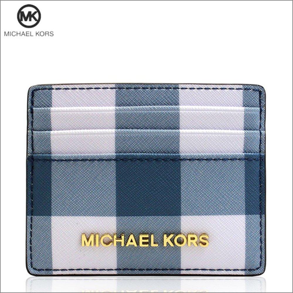 4e3007d83698 MICHAEL KORS JET SET TRAVEL NAVY/DENIM/WHITE LG CARD HOLDER 35T8GTVD3T