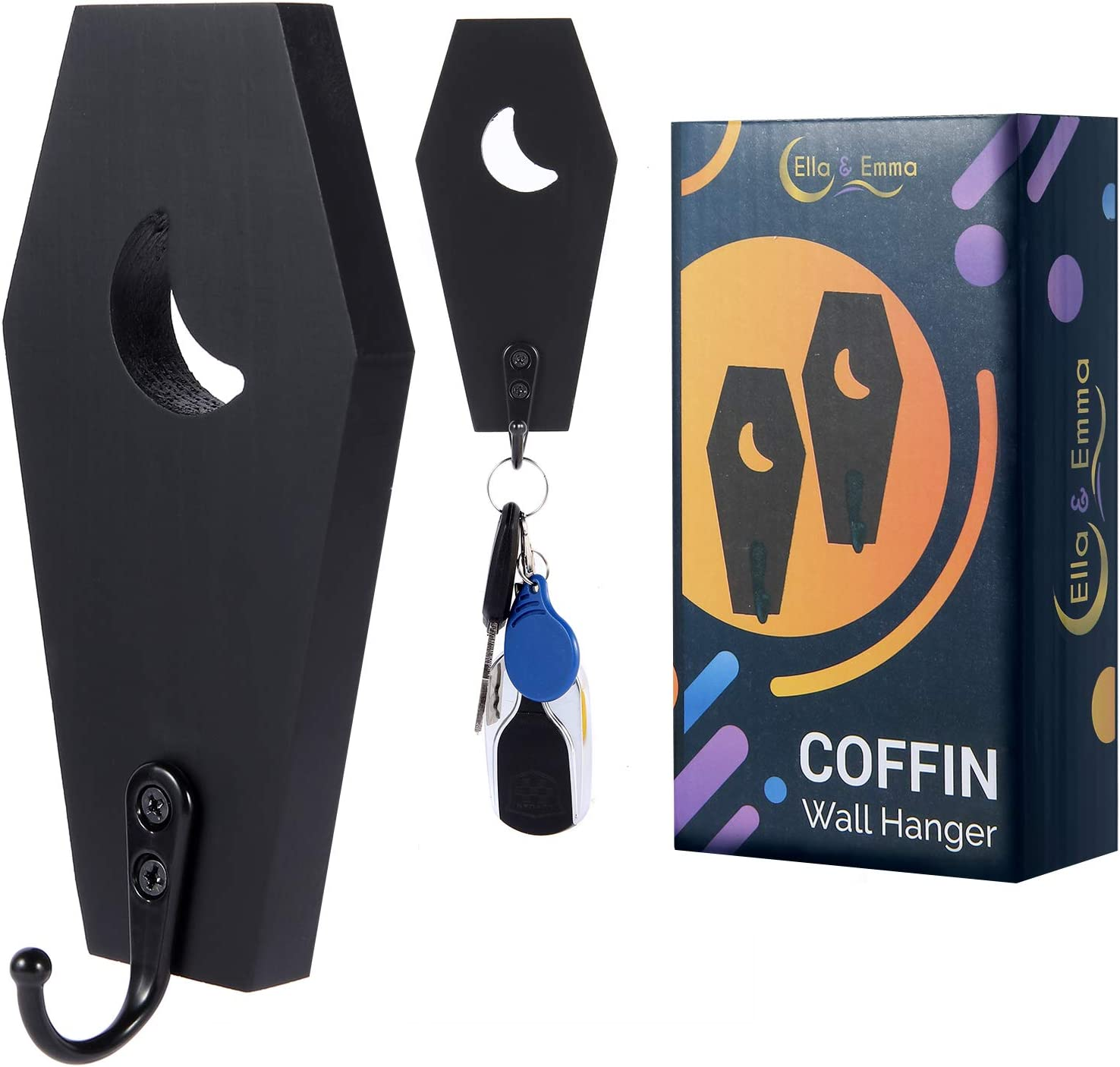 Coffin Key Holder (Pack of 2) Spooky Gothic Decor for Wall - Rustic Black Wooden Hanger Hooks for Keys, Mugs, Purse - Wall Mounted Mini Coffin Hangers Decoration for Moon Shelf, Mirror by Ella & Emma
