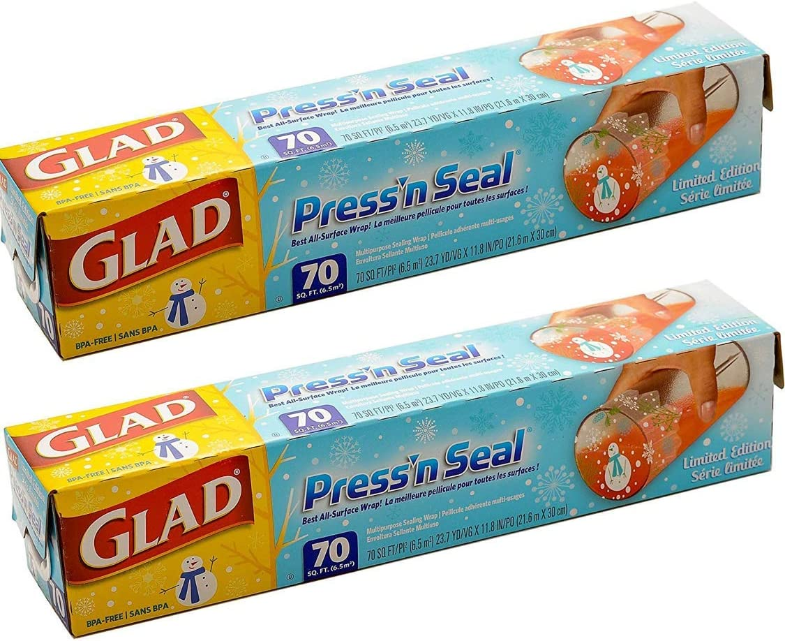 Glad Pressn Seal Wrap, Christmas Special Design, 140 Square Foot Total (pack of 2)