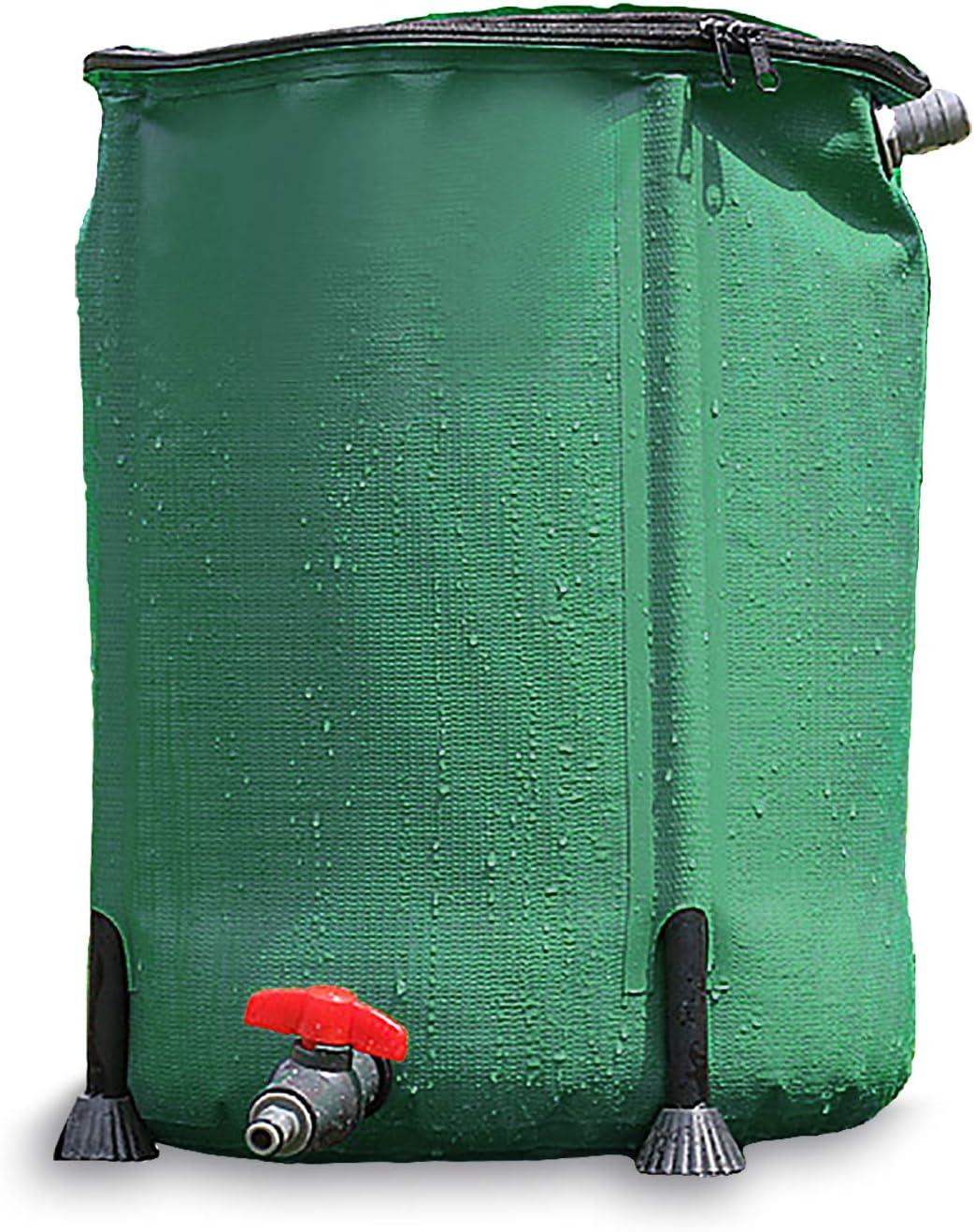 Gnohnay Barril de Lluvia Plegable con Espita Filtro Desbordamiento, Colector Agua Bajante para Riego, Cultivo de Peces, Reutilización de Aguas Residuales (Tamaño: 100L/40X78cm)
