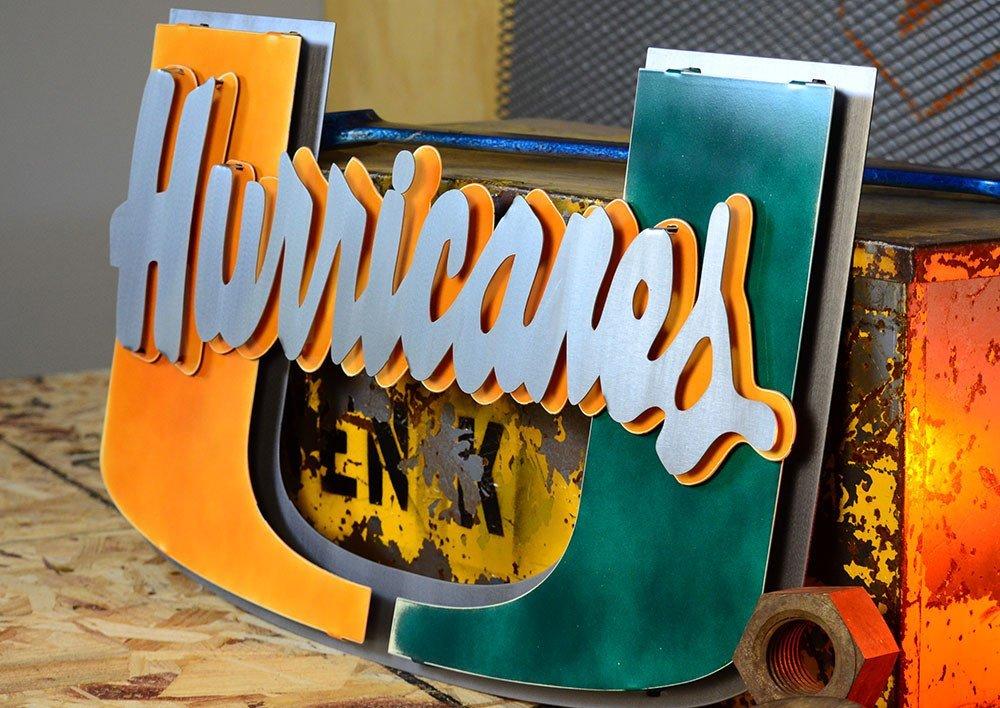 Gear New University of Miami Hurricanes U 3D Vintage Metal College Man Cave Art, Large, Orange/Green/Grey