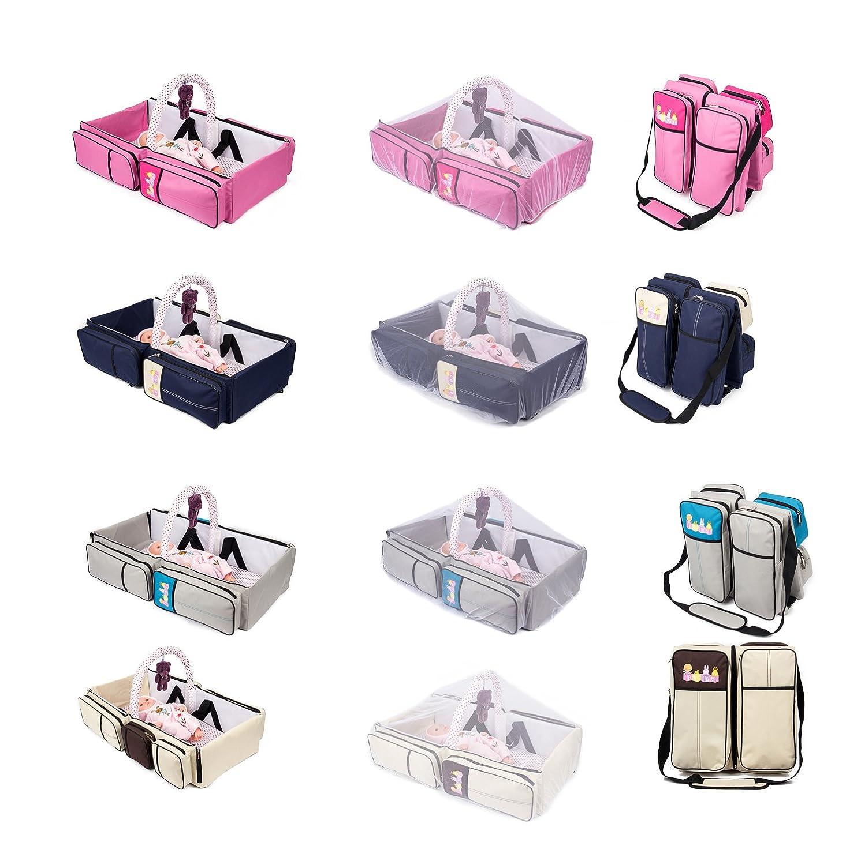 2 in 1 Wickeltasche Pflegetasche Babytasche Reise Babybett Moskitonetz (beige) GMMH