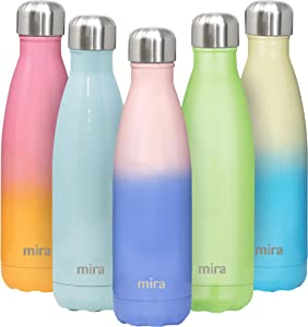 MIRA 17 Oz Insulated Metal Water Bottle - Stainless Steel Double Walled Vacuum Insulated Cola Shape Thermos Flask - 24 Hours Cold, 12 Hours Hot - Cap - Reusable Sports Bottle - Cotton Candy