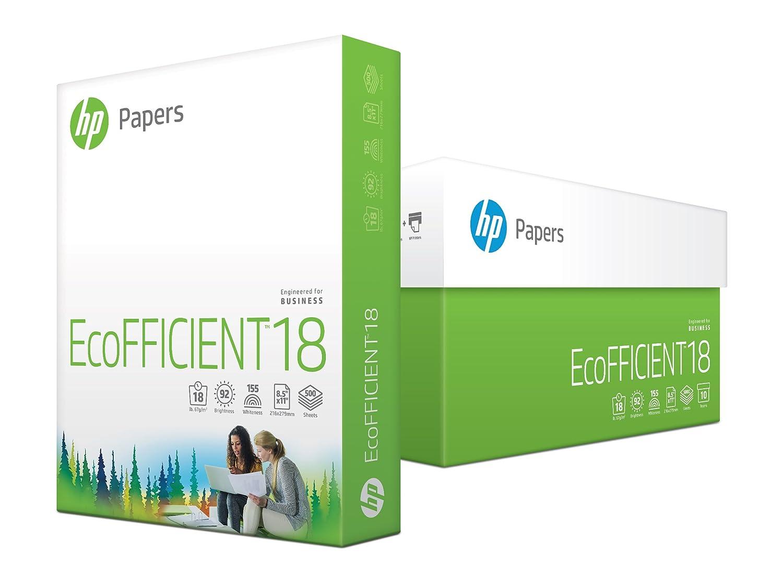 HP Printer Paper, EcoEFICIENT18 Paper, 8.5 x 11 Paper, Letter Size, 18lb Paper, 92 Bright, 10 Ream Case / 5,000 Sheets (088369C) Acid Free Paper