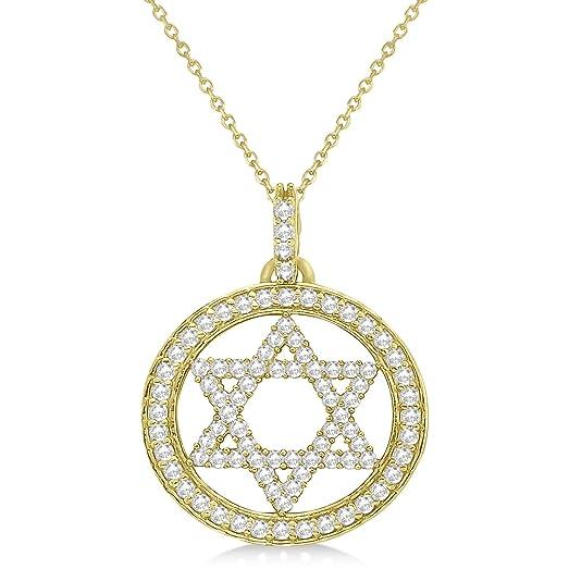 Amazon allurez star of david diamond circle pendant necklace allurez star of david diamond circle pendant necklace 14k yellow gold 090ct aloadofball Gallery