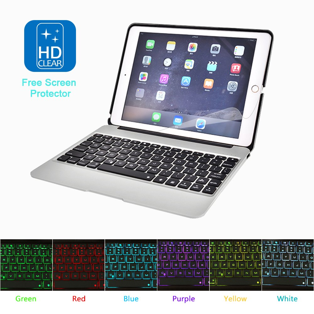 MOSTOP iPad Air 2 iPad Pro 9.7-inch Keyboard Bluetooth 7-color LED Backlit Slim Aluminum Wireless Keypad with Built-in 2800mAh Power Bank for iPad Air 2/iPad Pro 9.7-inch (Silver) by MOSTOP (Image #1)