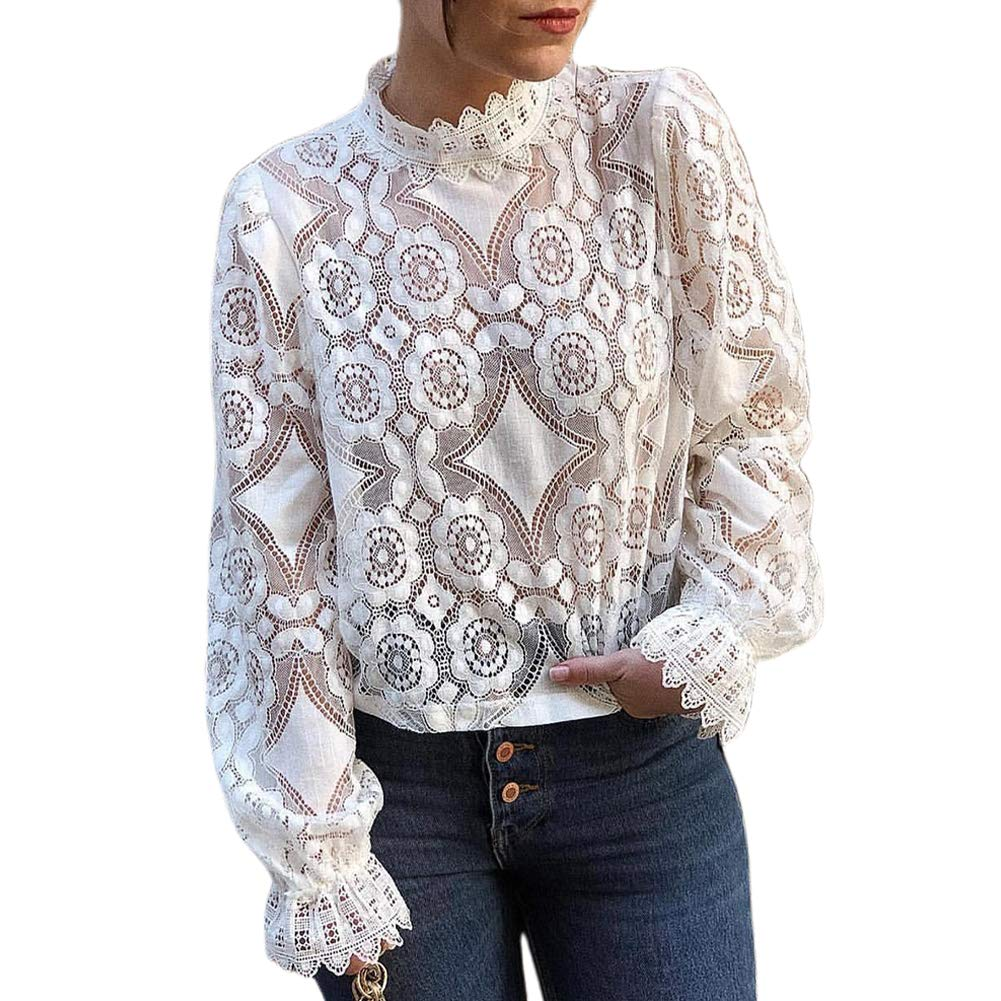 Victorian Blouses, Tops, Shirts, Sweaters GUYUEQIQIN Womens Long Sleeve Lace Tops Casual Hollow Out Stand Collar Shirt Tees $19.99 AT vintagedancer.com