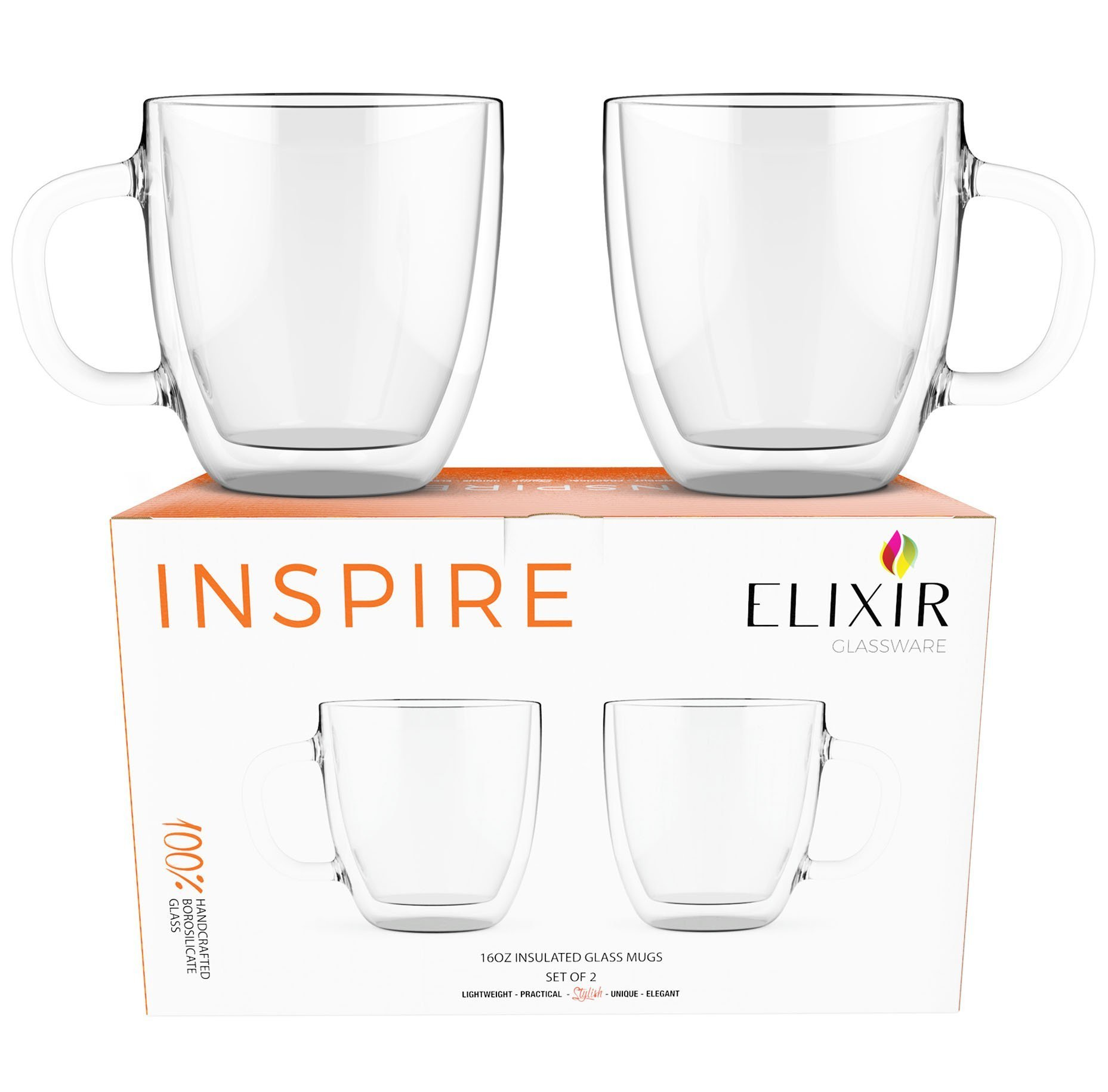 Large Coffee Mugs, Double Wall Glass Set of 2, 16 oz - Dishwasher & Microwave Safe - Clear, Unique & Insulated with Handle, By Elixir Glassware by Elixir Glassware (Image #2)