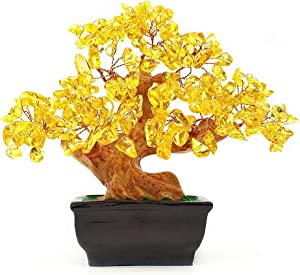 Colorsheng Natural Quartz Crystal Money Tree Bonsai Style Decoration for Luck and Wealth (Yellow)