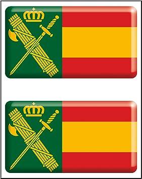 Artimagen Pegatina rectángulos Bandera con Logo Guardia Civil 2 uds. Resina 48x26 mm/ud.: Amazon.es: Coche y moto