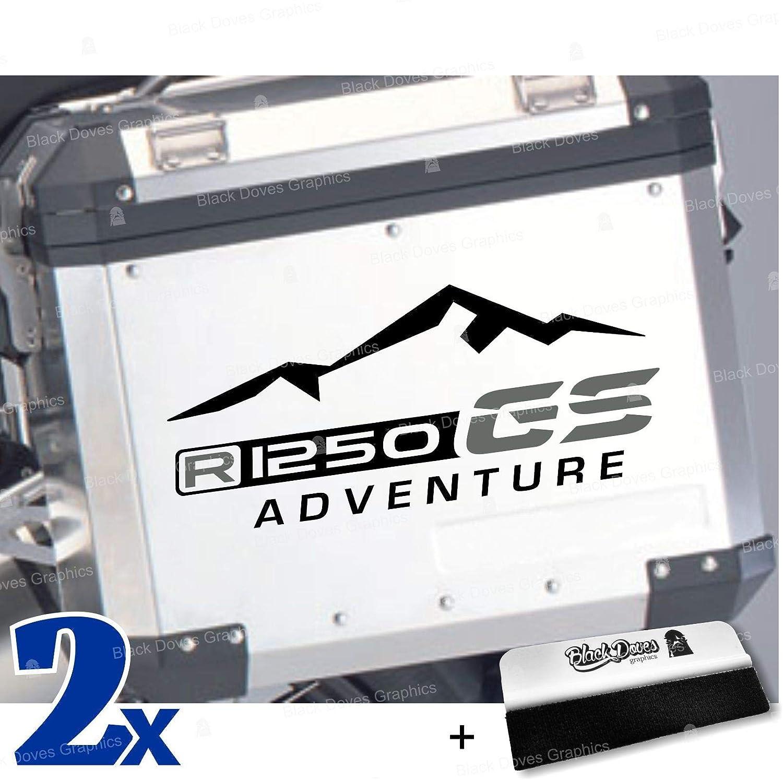 Black Doves Graphics 2pcs Aufkleber R1250gs Adventure Kompatibel Für Motorrad Bmw R1250 Gs R 1250 Hp Touratech Y Givi Trekker Outback 37l 48l Schwarz Grau Auto