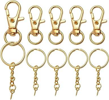 Polish GOLD COLOR Key Ring DIY Key Holder w//Hook-NEW 6 pcs