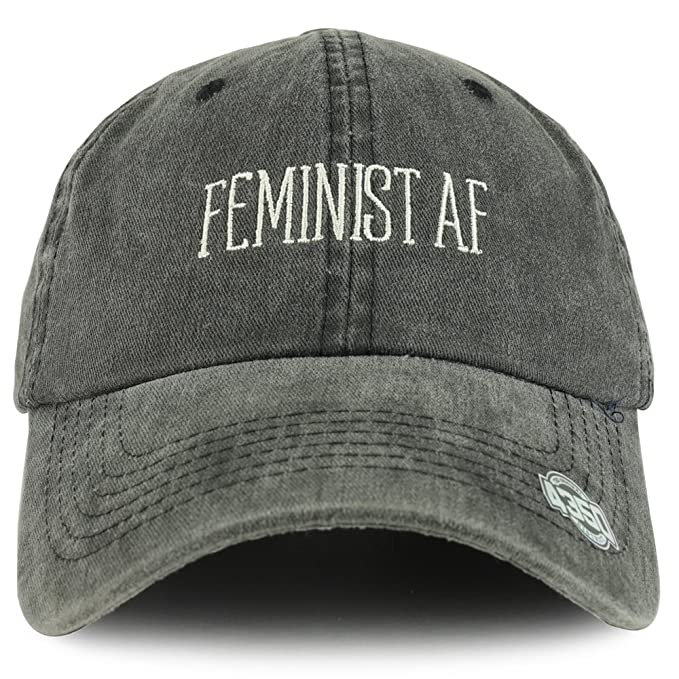 fab30d1951890 Trendy Apparel Shop Feminist AF Text Embroidered Washed Cotton Unstructured Baseball  Cap - Black