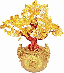 Colorsheng Feng Shui Citrine Quartz Crystal Money Tree Bonsai Style Decoration for Luck and Wealth (Dragon pots)