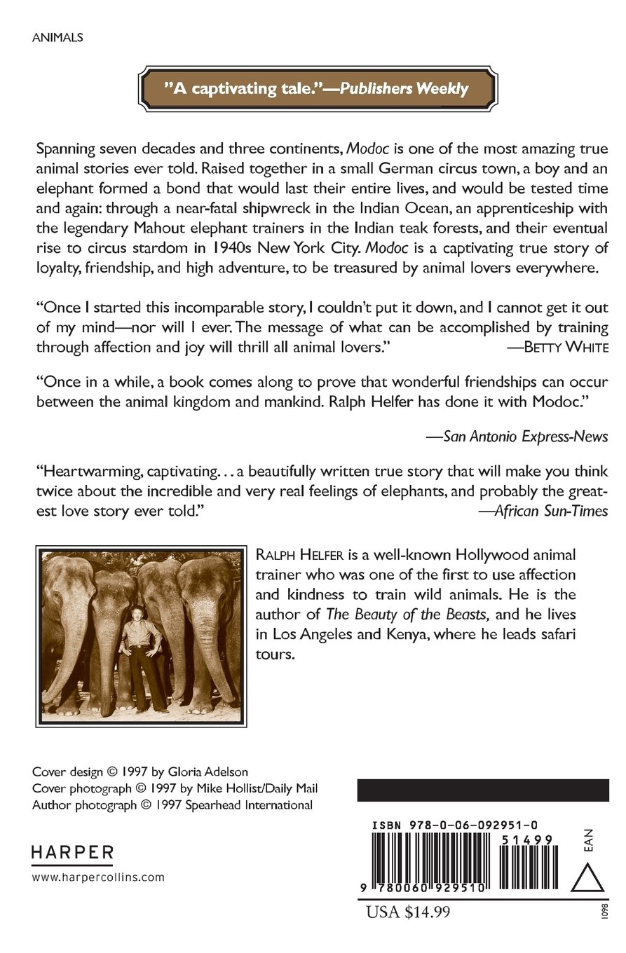 Modoc: The True Story Of The Greatest Elephant That Ever Lived: Ralph  Helfer: 9780060929510: Amazon: Books