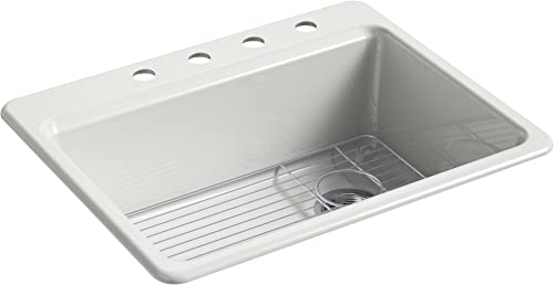 KOHLER K-8668-4A1-FF Riverby Top-Mount Single-Bowl Kitchen Sink with Bottom Basin Rack and 4 Faucet Holes, 27 x 22 x 9-5 8 , Sea Salt