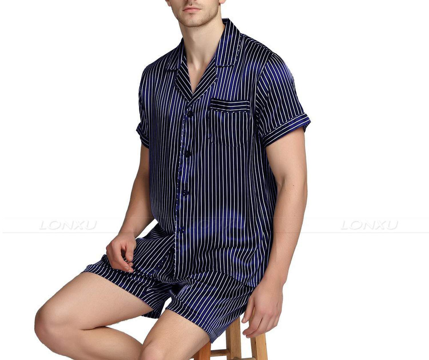 Mens Silk Satin Short Pajamas Pajama Pyjamas Set Sleepwear Set Loungewear,Navy Blue Strip,XL