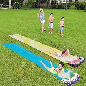 YJT Lawn Water Slides Slip and Slide for Kids Lawn Outdoor Waterproof Water Slide Tarp- for Children Outdoors Lawn Backyard Have Fun(2pack)