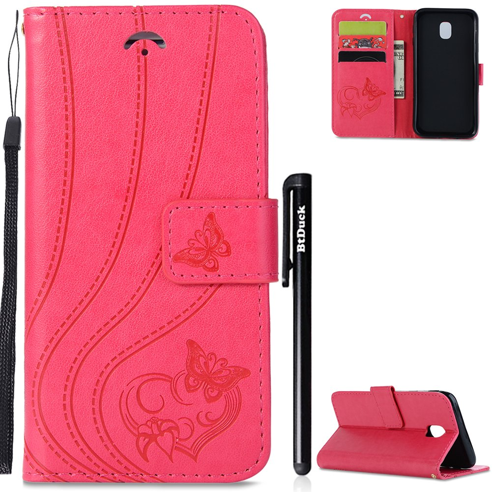 Phone Case for Galaxy J3 2017, Samsung J3 2017 Case Leather, BtDuck Leather Case Stand Flip Cover Phone Wallet Leather Case Purple with Cards Slots Vintage Retro Butterfly Heart Pattern Case Slim Soft Silicone Inner Holster Soft Leather Case Flip Folio Pho
