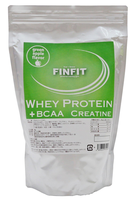FINFIT ホエイプロテイン グリーンアップル味 1kg B074YXX8P3