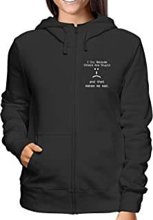 Sweatshirt Damen Hoodie Zip Schwarz T0186 i Cry Because Other Are Stupid And That Makes Me Sad Fun Cool Geek