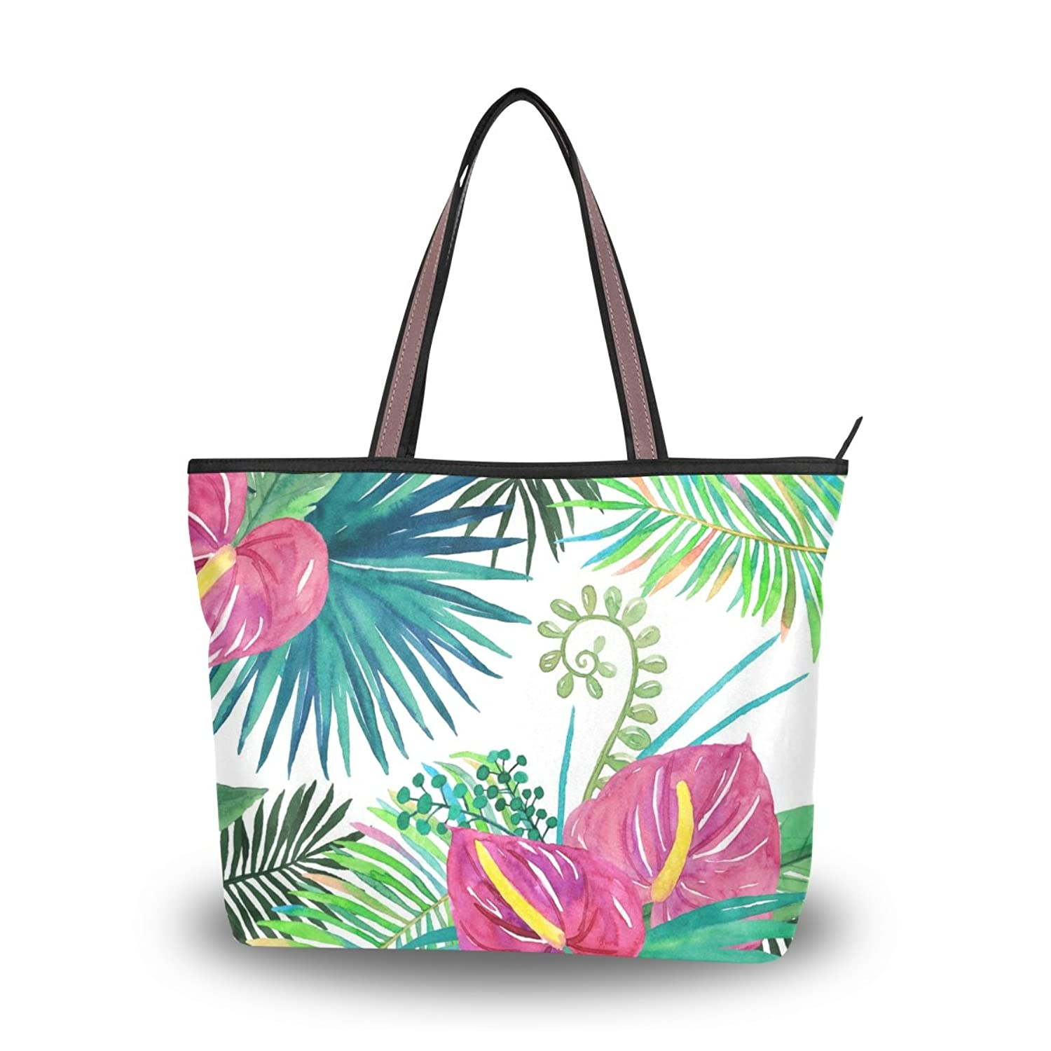 Senya Women's Handbag Microfiber Large Tote Shoulder Bag, Tropical Palm Leaves