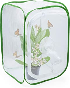 RESTCLOUD Insect and Butterfly Habitat Cage Terrarium Pop-up 24 Inches Tall with Sleeve (A-15.7 x 15.7 x 24 inches)