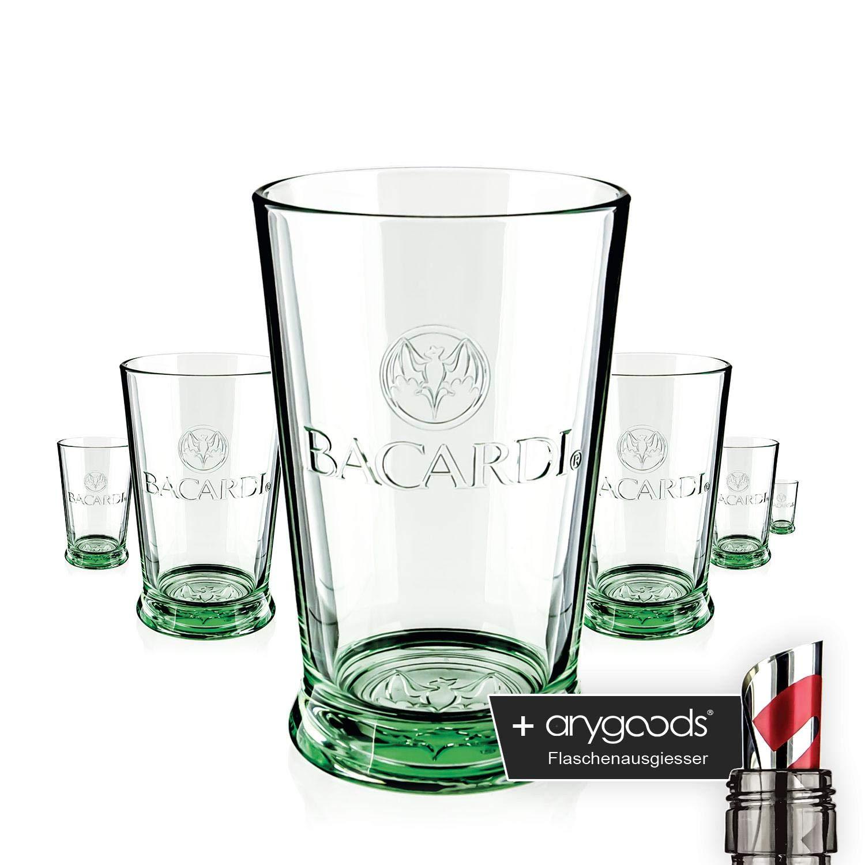 Flaschenausgiesser 6 x Havana Club Glas Gl/äser Rum Tumbler Longdrink Cocktail Gastro Bar Deko