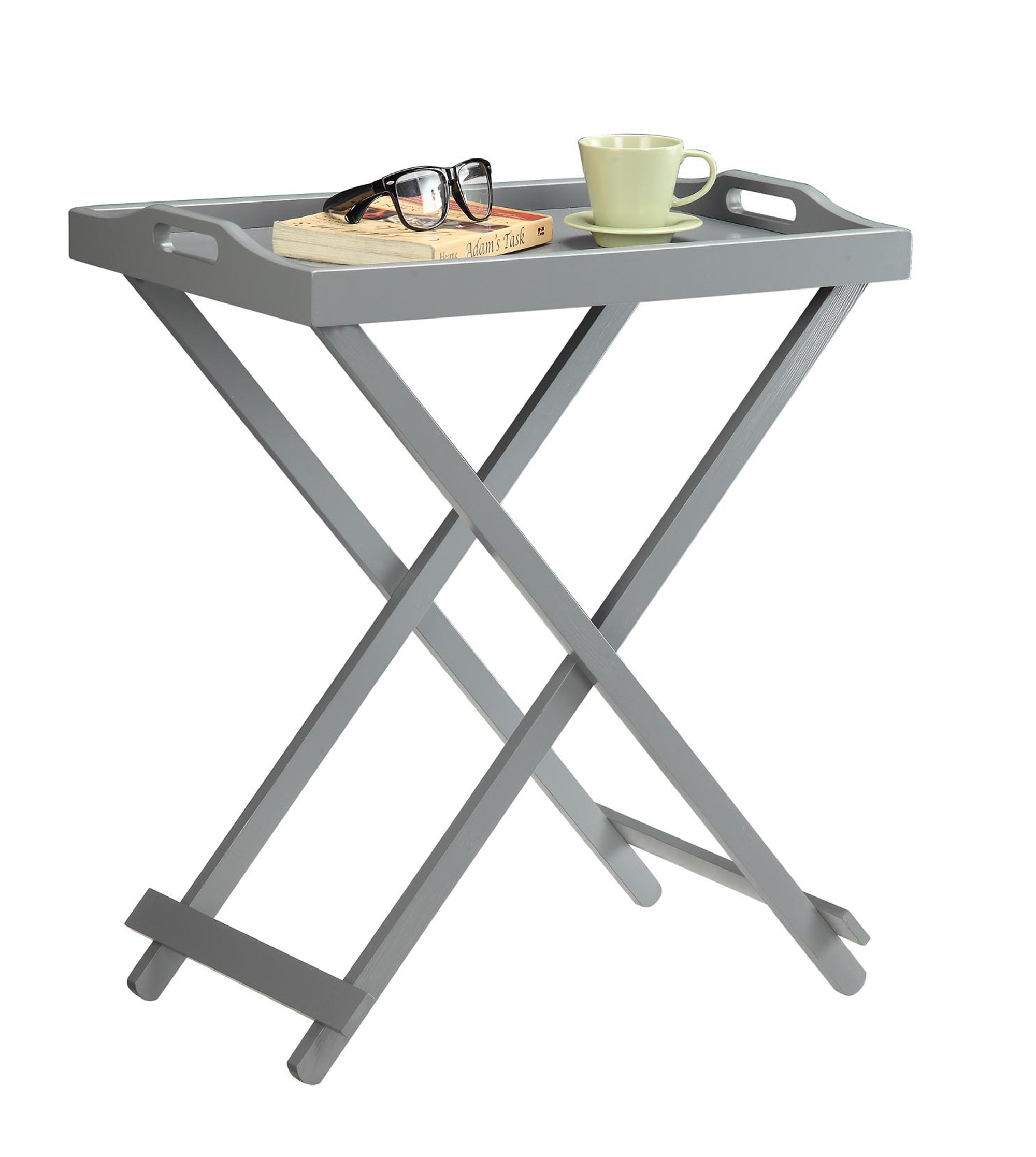 Convenience Concepts Designs2Go Folding Tray Table, Gray by Convenience Concepts (Image #2)