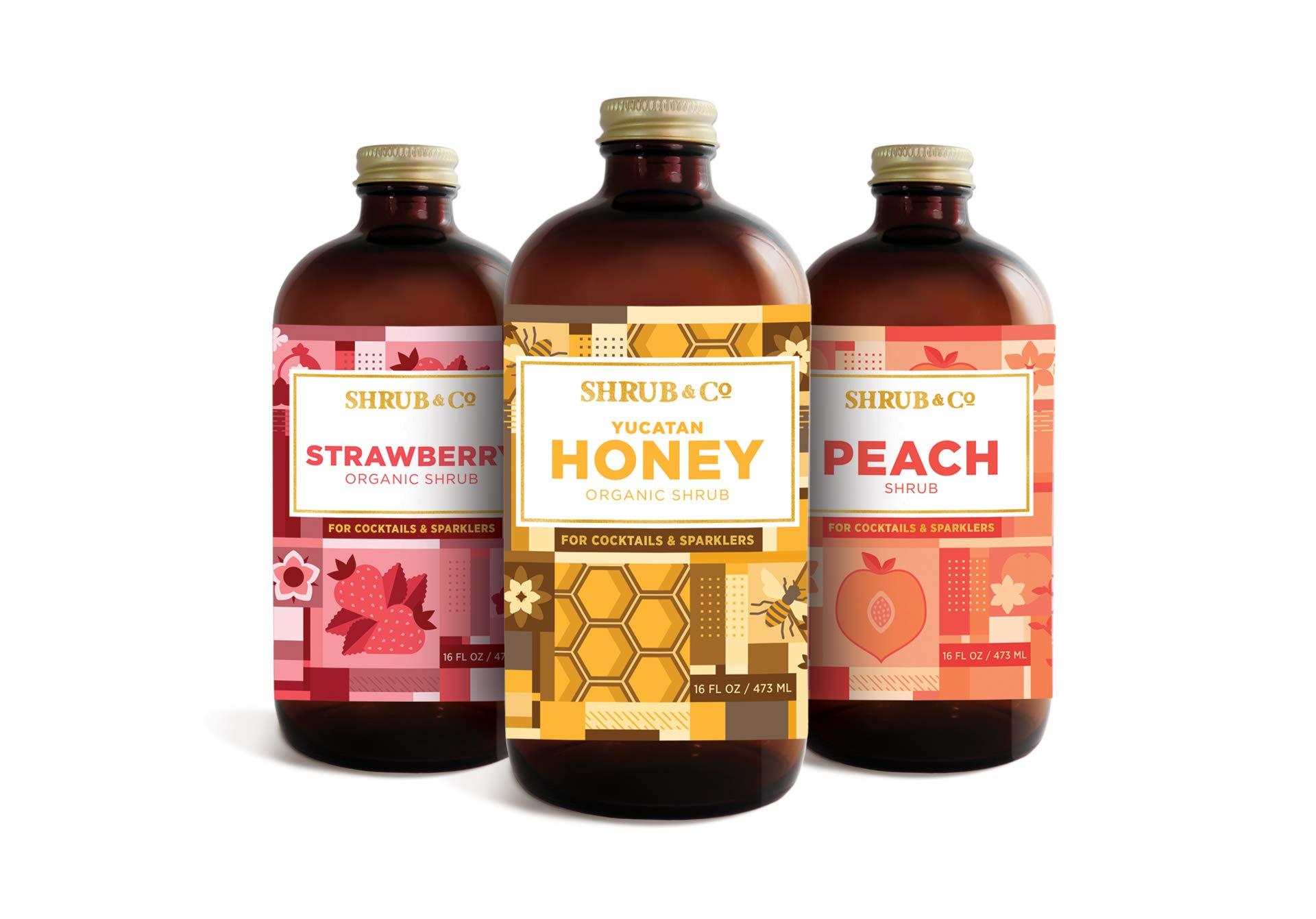 Shrub & Co Summer Expressions Shrub Trio; Organic Honey, Organic Strawberry, Peach Shrub - Fruit-Driven Mixers for Cocktails, Sparklers, and Club Sodas, 16 fl. oz.