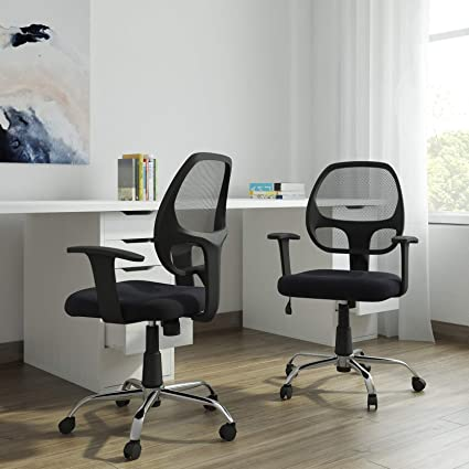 DZYN Furnitures Mesh Revolving Office Chair in Black (Set of 02 Pcs.)