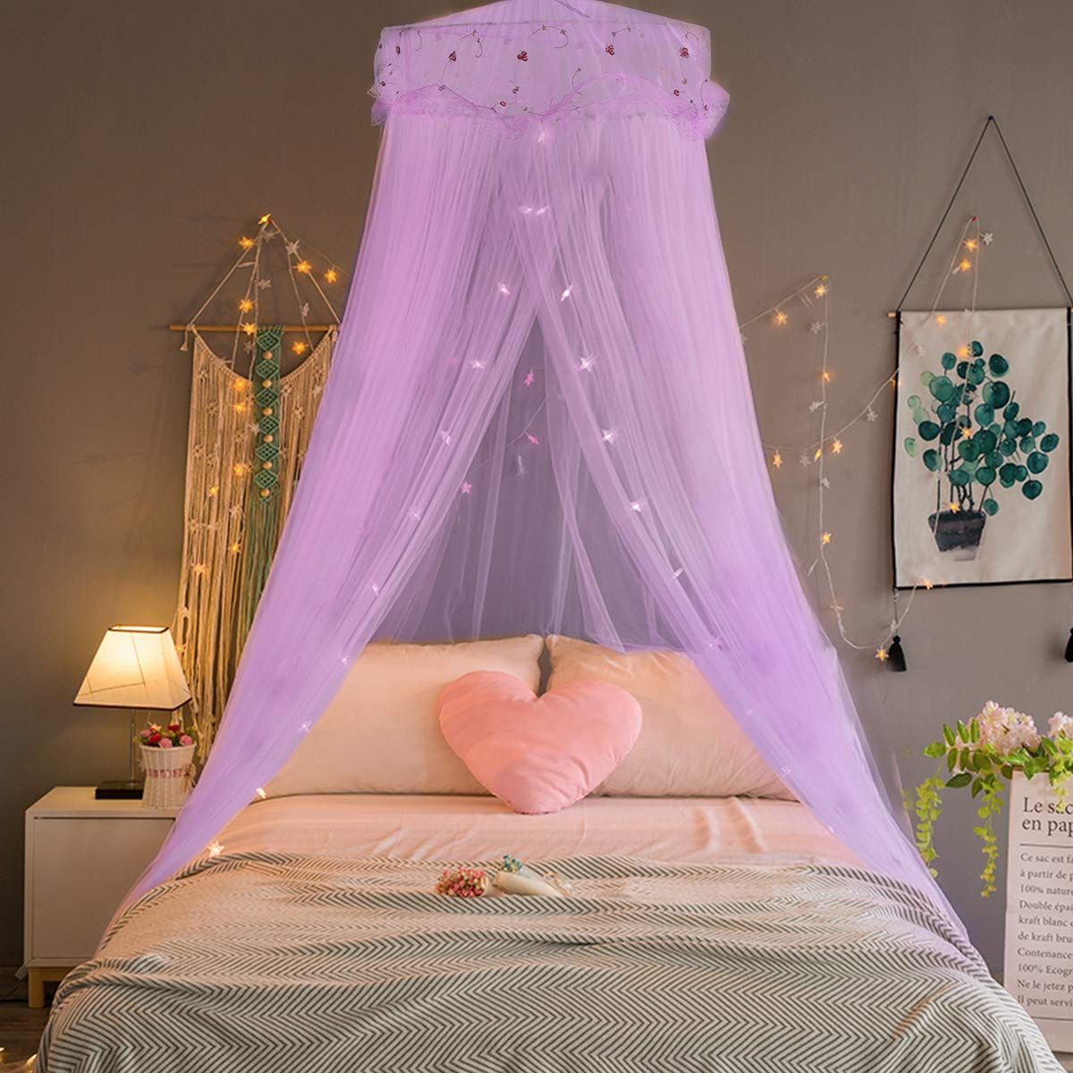 Jeteven Girl Bed Canopy Lace Mosquito Net for Girls Bed, Princess Play Tent Reading Nook Round Lace Dome Curtains Baby Kids Games House-Purple