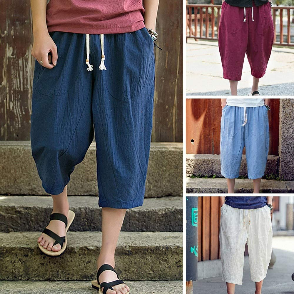 Mens Big/&Tall Harem Pants,Donci Loose Comfy Cotton Linen Casual Ninth Trousers Lace Up Pocket Pure Color Beach Shorts