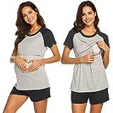 Ekouaer Women's Maternity Nursing Pajamas for Hospital Short Raglan Sleeve Baseball Pregnancy Breastfeeding Sleepwear Set