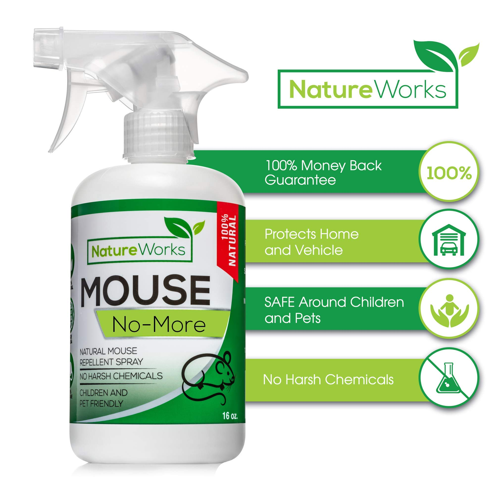 Mouse No-More I Mice Repellent Spray I Mouse Rat Squirrel & Rodent Defense I Vehicle Protection Car RV & Boat I Indoor & Outdoor I Peppermint Oil | Trap & Poison Alternative | Natural Non-Toxic | 16oz by NatureWorks