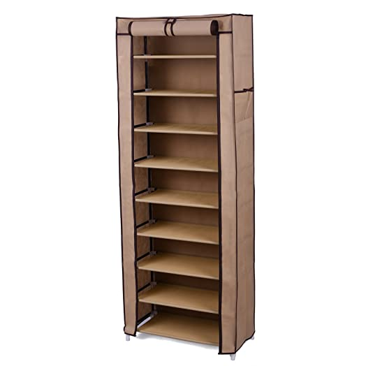Songmics 10 Tier Shoe Rack Cabinet for 27 pairs of shoes Standing ...