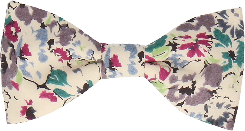 Pre-Tied. Cotton Blue Paisley UK Made Bow Tie Premium Quality