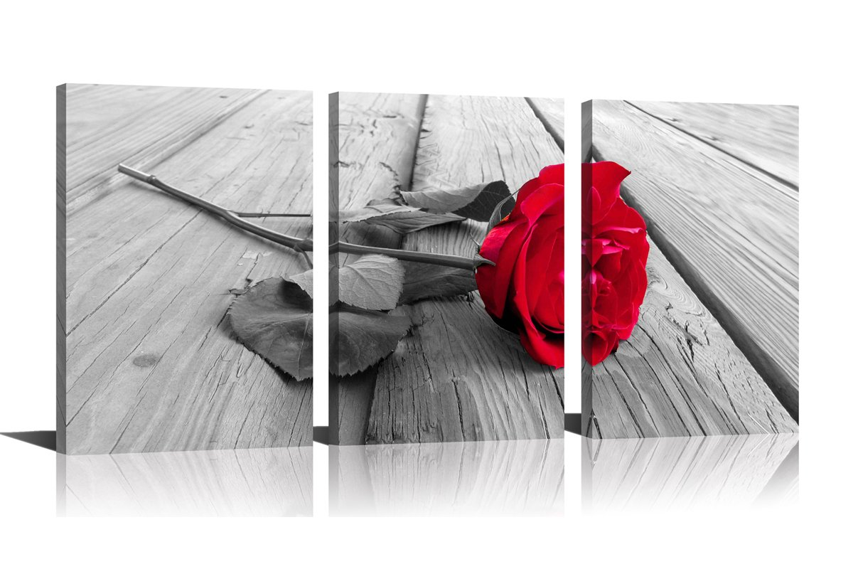 YPY Rose Wall Art for Bedroom Floral Flower Black White Oil Painting Printed on Canvas Artwork Pictures Ready to Hang (Red, 16x24in) by YPY