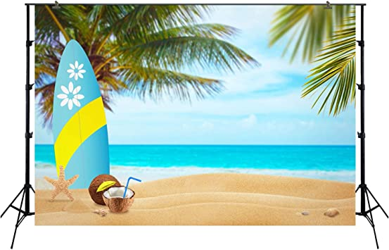 8x8FT Vinyl Photography Backdrop,Hello,Summer Bird Surfboard Background for Selfie Birthday Party Pictures Photo Booth Shoot