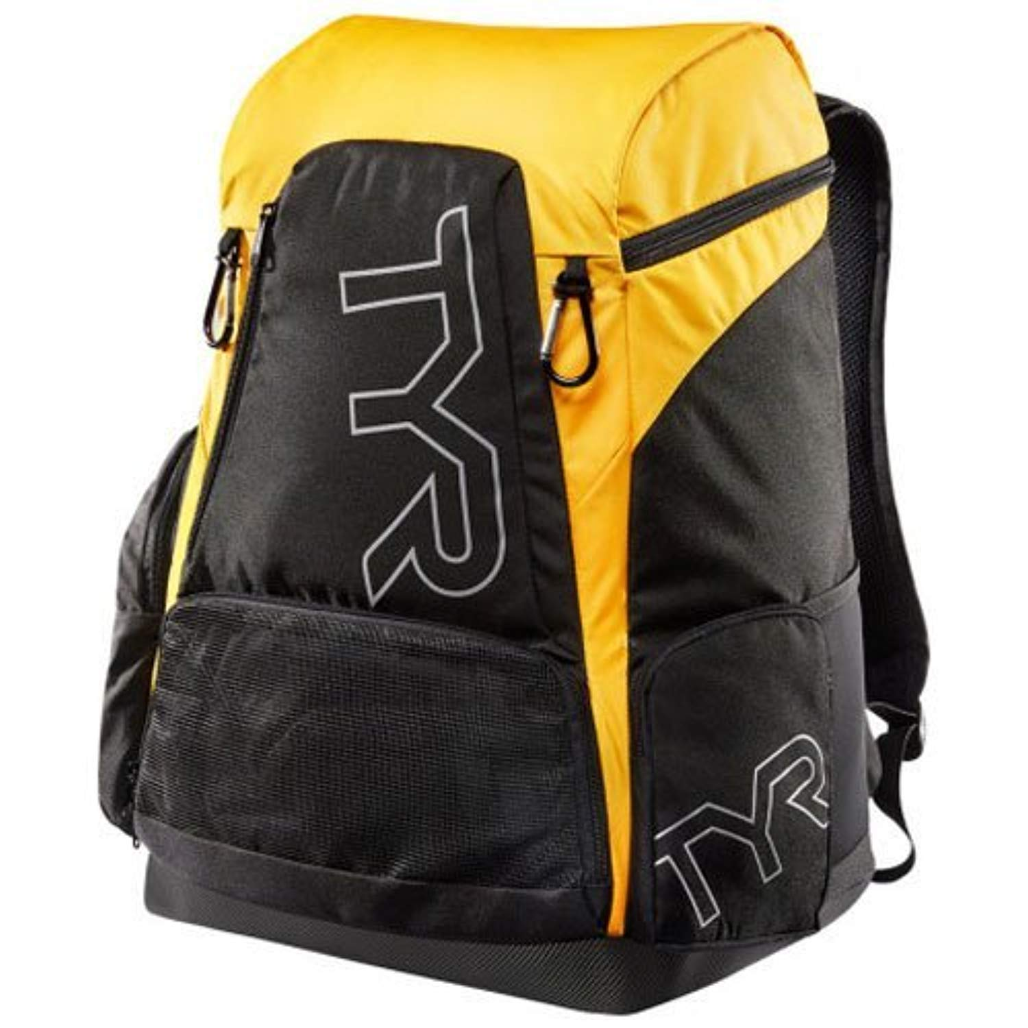 Swim Bundle: TYR Alliance 45L Backpack Black/Gold All & Swimming Earplugs by Competition Swimwear