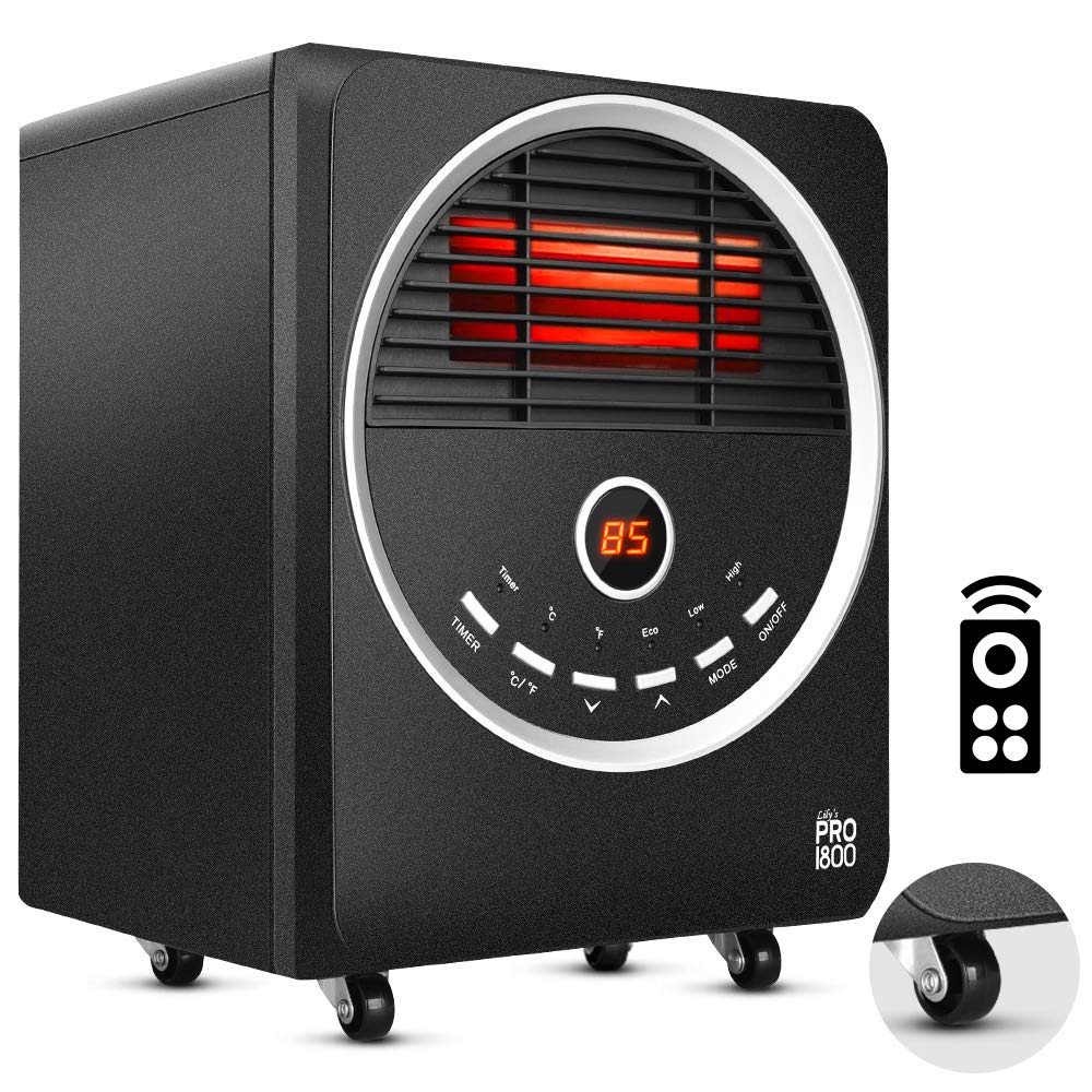 Space Heater -1500W Portable Heater with 4 wheels, 3 Heating Modes, Tip-Over and Overheat Protection, Quiet, Timer, Adjustable Thermostat, Remote Control Electric Heater for Warming Up the Home Office