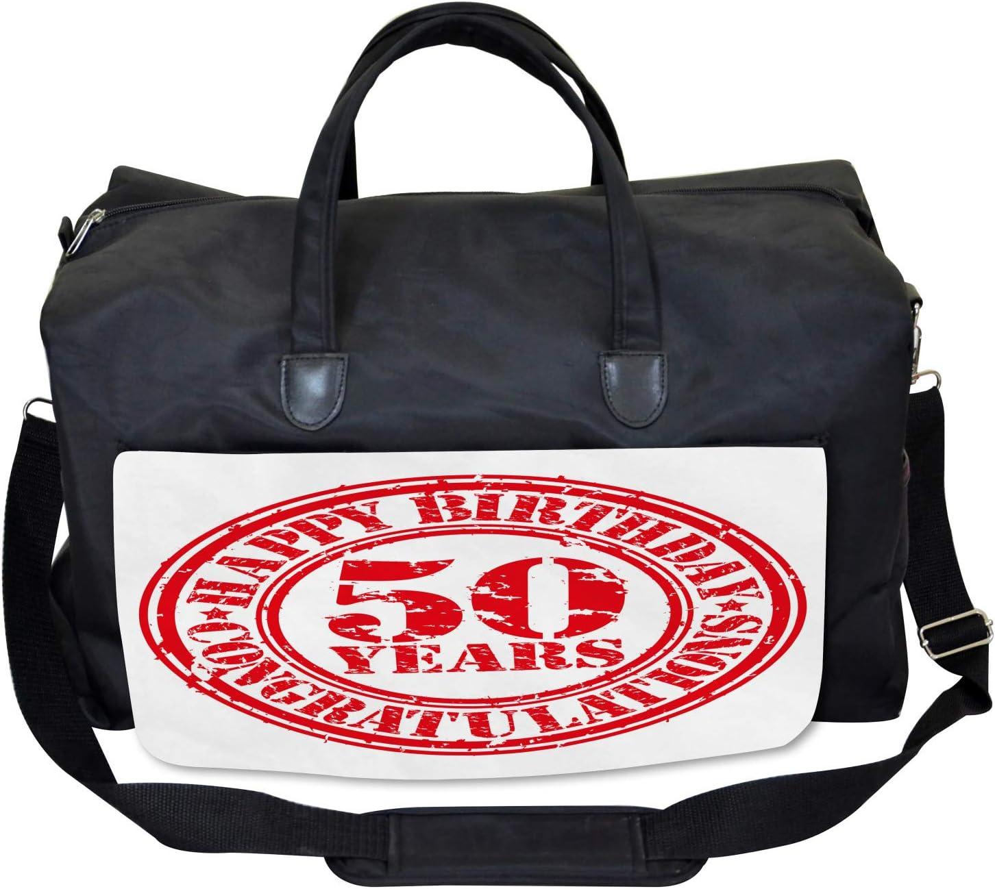 Ambesonne 50th Birthday Gym Bag Large Weekender Carry-on Grunge Birthday Icon