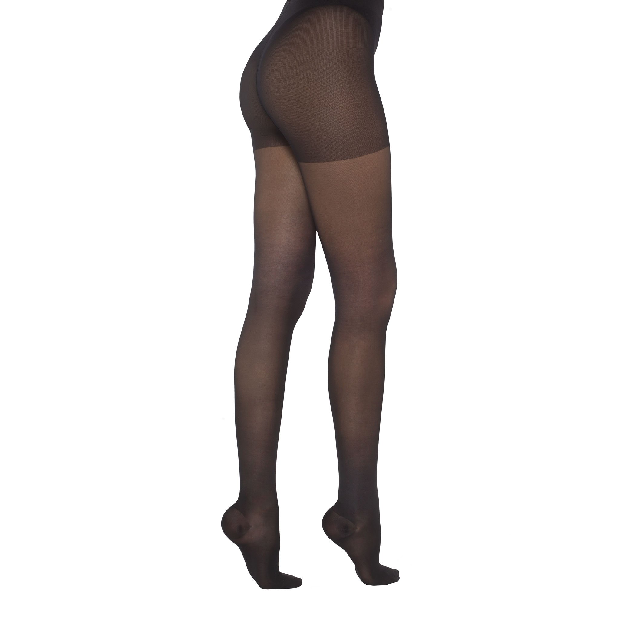 Healthweir Graduated Compression Pantyhose 15-20 mmHg (EU 18-22 mmHg) Class 1 - Made in Italy - Sheer Hosiery Stockings for Everyday Use, Travel, Recovery, Support, Nursing & Pregnancy (5, Black) by Healthweir (Image #1)