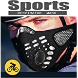 Black Respirator Mask Dust proof Mask, Filtered Activated Carbon Filtration Exhaust Gas Anti Pollen Allergy PM2.5 Half Face Mask