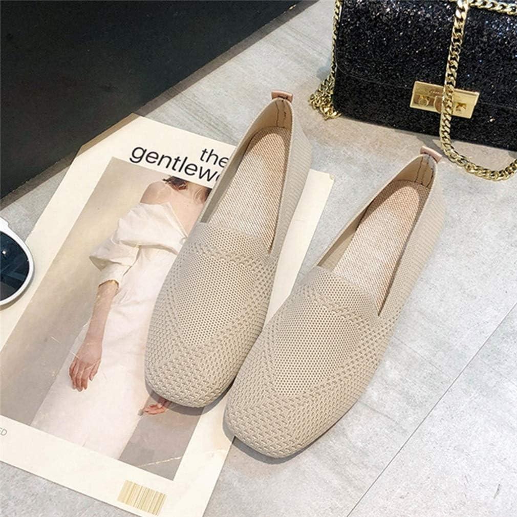 Printemps Femmes Mocassins Maille Ballerines Respirantes Mode Bout Carré Chaussures Simples Bouche Peu Profonde Slip on Chaussures De Conduite Beige