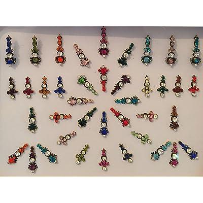 bds143_ MUL: mehya funda del paquete de 40, Multicolor y Negro bindis con plata y oro, cristal Multicolor de color perla bindis, chandla, Tattoo, cuerpo art, tarjeta de decoración, marcado, Bollywood