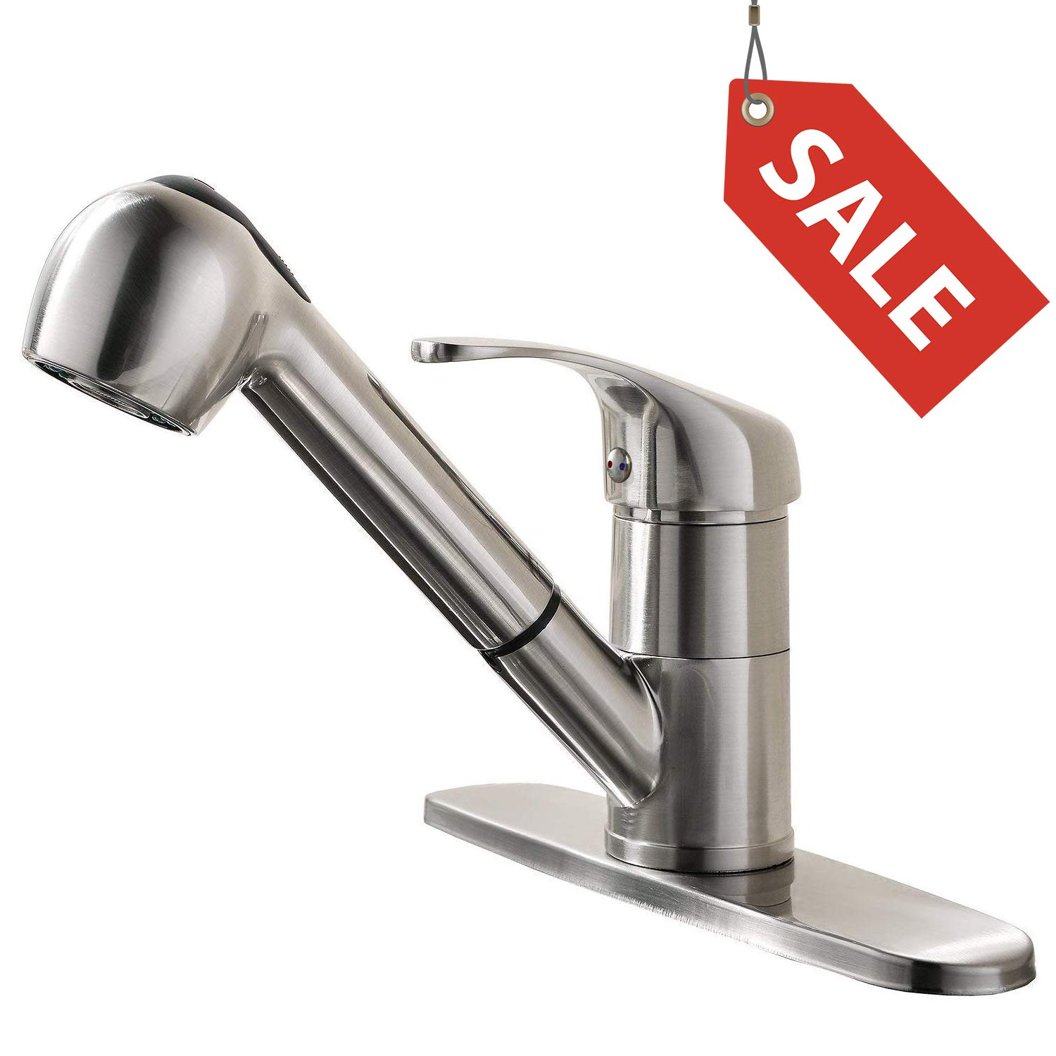 GOOAO Single Handle Pull Out Sprayer Kitchen Faucet with Deck Plate, Polished Brush Nickel by GOOAO (Image #1)