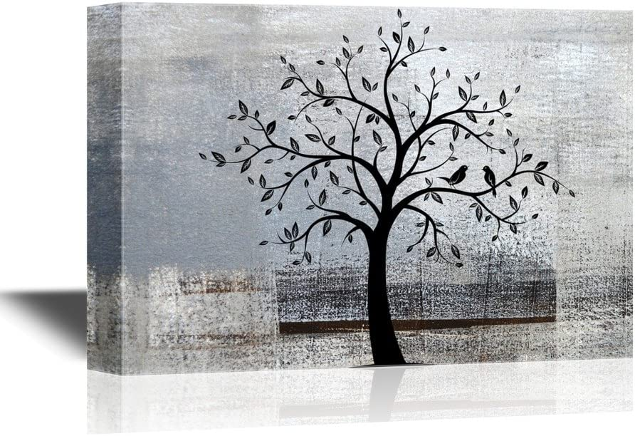 Abstract Tree Canvas Wall Art - Black Tree Branch with Leaves and Birds on Grey Background - Gallery Wrap Modern Home Art | Ready to Hang - 24x36 inches